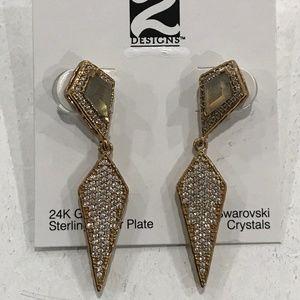 GOLD KUTO LABRADORITE & CRYSTAL KITE EARRINGS